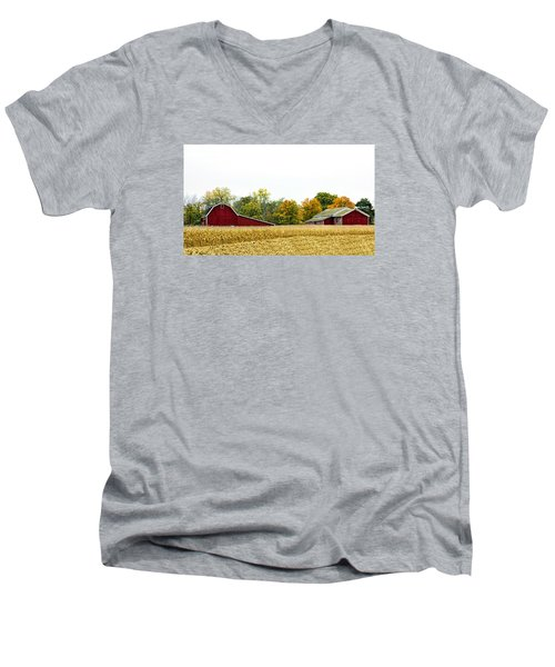 Autumn Barns Men's V-Neck T-Shirt by Pat Cook