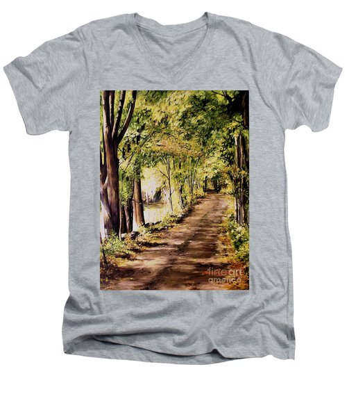 Men's V-Neck T-Shirt featuring the painting Autumn Begins In Underhill by Laurie Rohner