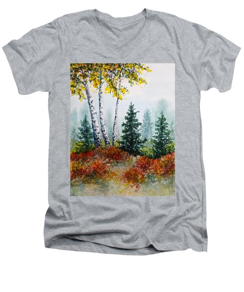 Men's V-Neck T-Shirt featuring the painting Autumn Birch by Carolyn Rosenberger