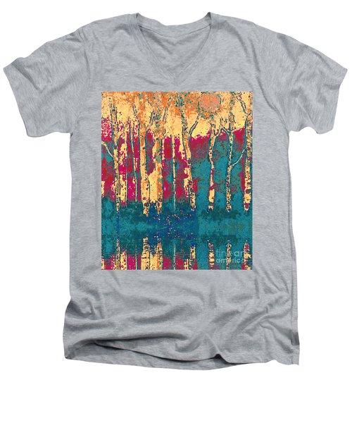 Autumn Birches Men's V-Neck T-Shirt by Holly Martinson