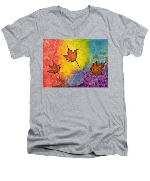 Autumn Bliss Colorful Abstract Painting Men's V-Neck T-Shirt