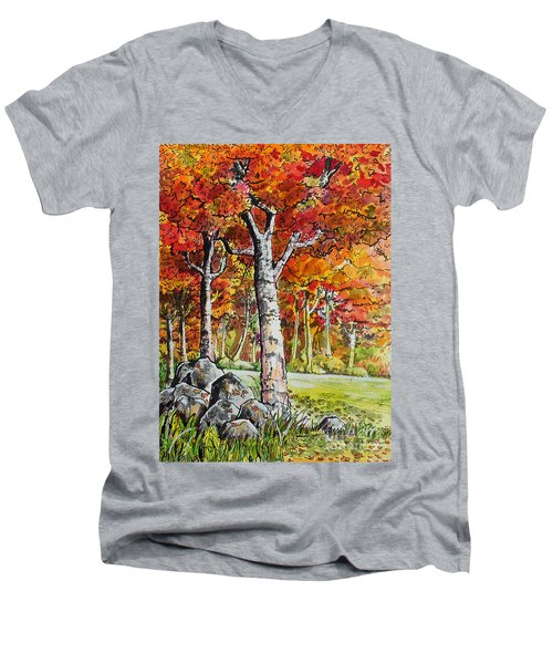 Autumn Bloom Men's V-Neck T-Shirt by Terry Banderas