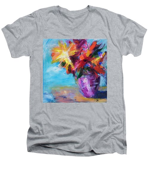 Colorful Flowers  Men's V-Neck T-Shirt