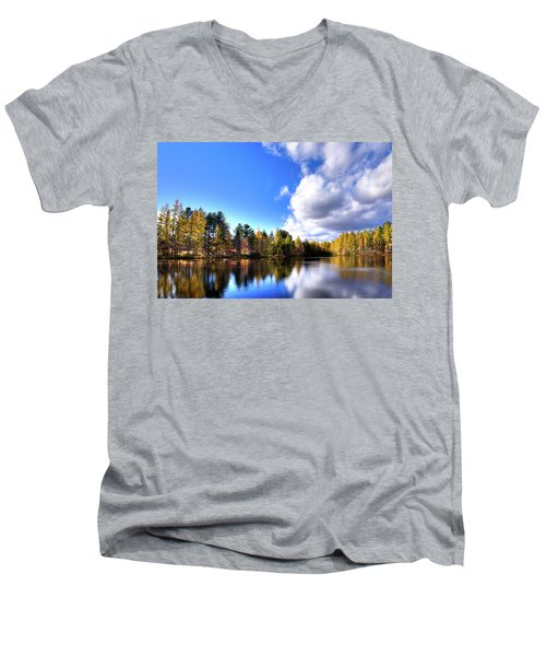 Men's V-Neck T-Shirt featuring the photograph Autumn Calm At Woodcraft Camp by David Patterson