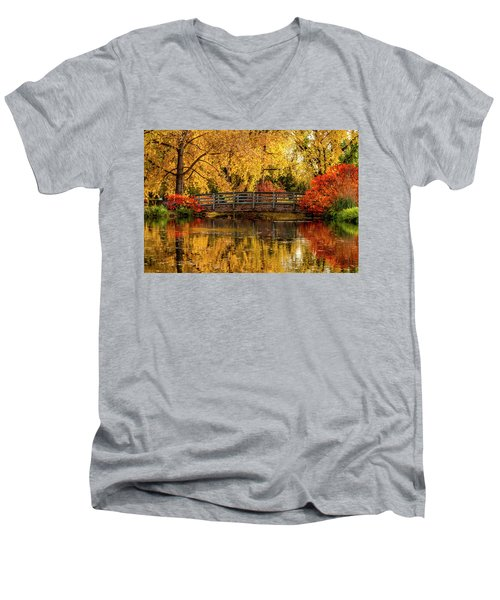 Autumn Color By The Pond Men's V-Neck T-Shirt