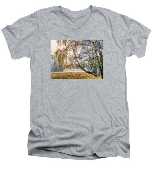 Autumn Colorful Birch Trees Paint Men's V-Neck T-Shirt by Odon Czintos