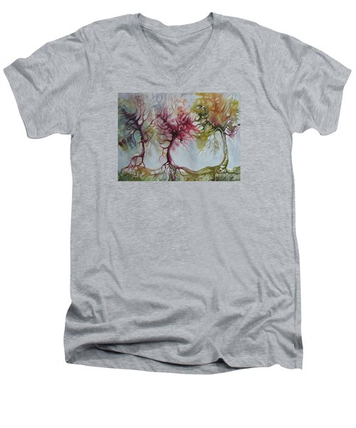 Men's V-Neck T-Shirt featuring the painting Autumn Colors by Elena Oleniuc