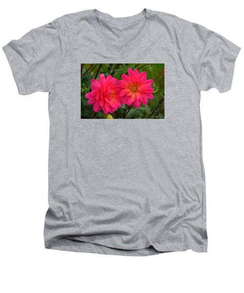 Men's V-Neck T-Shirt featuring the photograph Autumn Colors Maine by Richard Ortolano