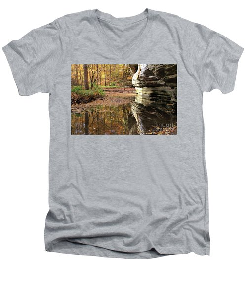 Autumn Comes To Illinois Canyon  Men's V-Neck T-Shirt