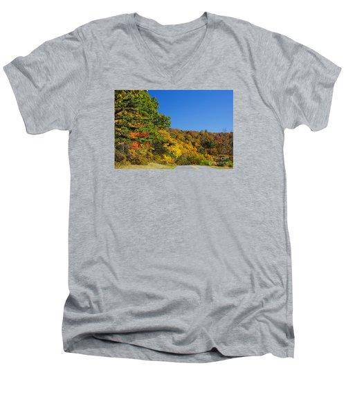 Autumn Country Roads Blue Ridge Parkway Men's V-Neck T-Shirt by Nature Scapes Fine Art