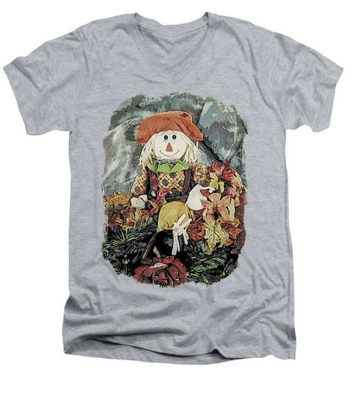 Autumn Country Scarecrow Men's V-Neck T-Shirt by Kathy Kelly