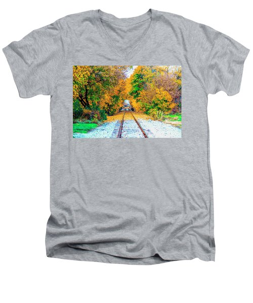 Men's V-Neck T-Shirt featuring the photograph Autumn Days by Jim Lepard