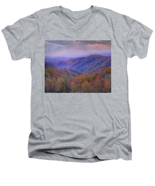 Autumn Deciduous Forest Great Smoky Men's V-Neck T-Shirt