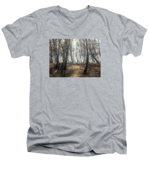 Autumn Deep Fog In The Morning Birch Grove Men's V-Neck T-Shirt by Odon Czintos