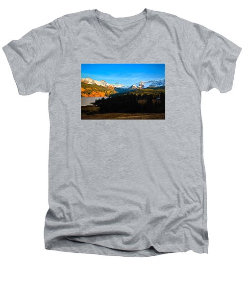Autumn Drama Men's V-Neck T-Shirt by Laura Ragland