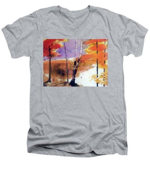 Men's V-Neck T-Shirt featuring the painting Autumn by Ed Heaton