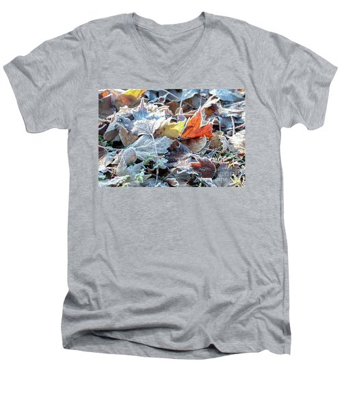 Men's V-Neck T-Shirt featuring the photograph Autumn Ends, Winter Begins 3 by Linda Lees