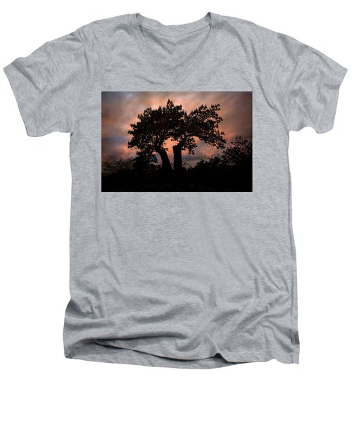 Men's V-Neck T-Shirt featuring the photograph Autumn Evening Sunset Silhouette by Chris Lord