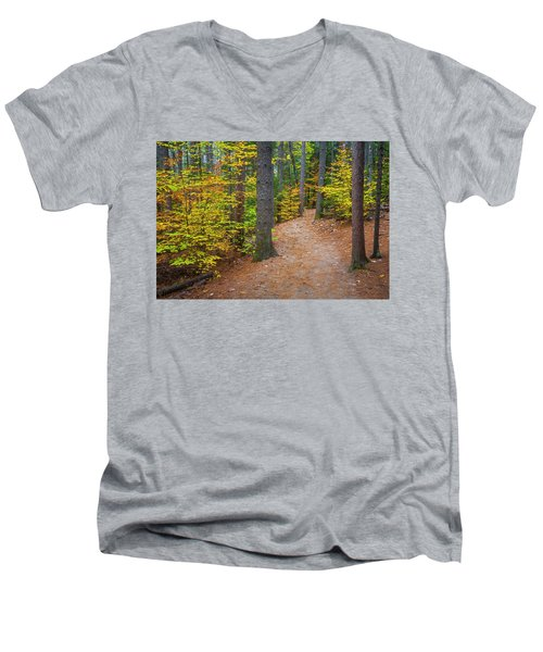 Men's V-Neck T-Shirt featuring the photograph Autumn Fall Foliage In New England by Ranjay Mitra