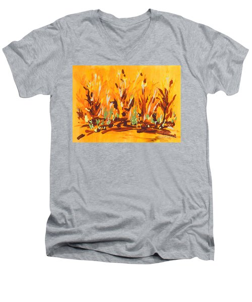 Men's V-Neck T-Shirt featuring the painting Autumn Garden by Holly Carmichael