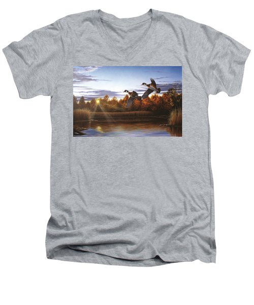 Autumn Home - Wood Ducks Men's V-Neck T-Shirt