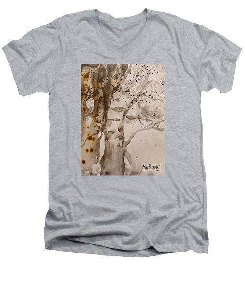 Autumn Human Face Tree Men's V-Neck T-Shirt by AmaS Art