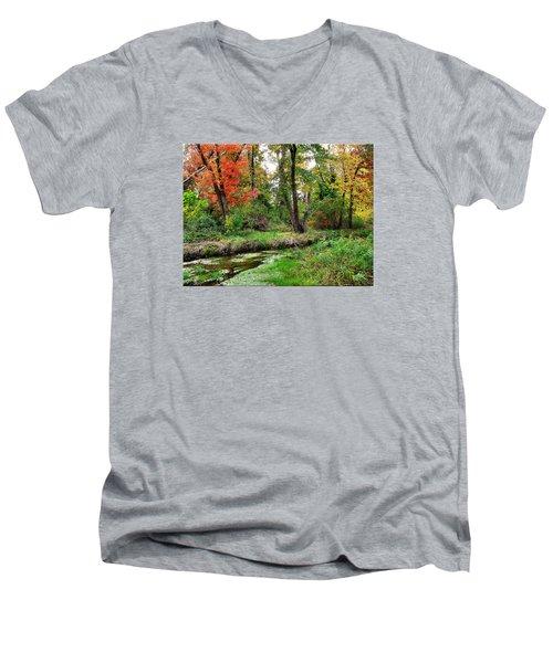 Autumn In Bloom Men's V-Neck T-Shirt by Mikki Cucuzzo