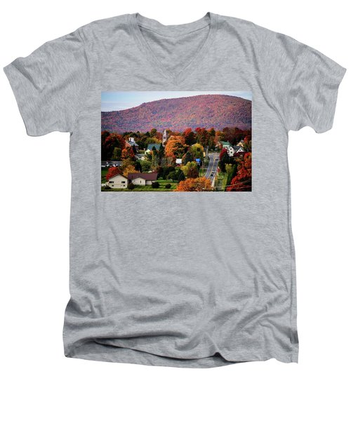 Autumn In Danville Vermont Men's V-Neck T-Shirt by Sherman Perry