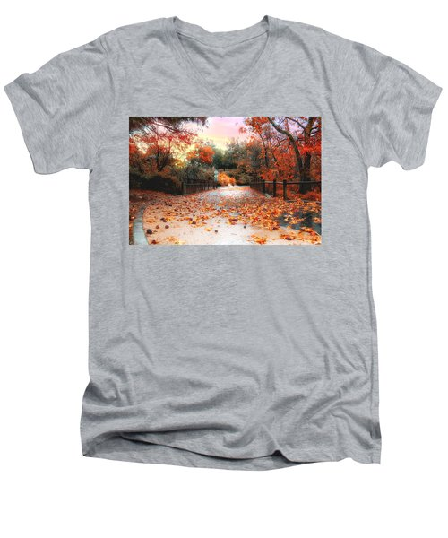 Autumn In Discovery Lake Men's V-Neck T-Shirt
