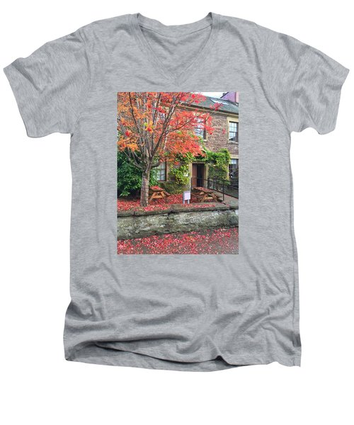 Men's V-Neck T-Shirt featuring the photograph Autumn In Dunblane by RKAB Works