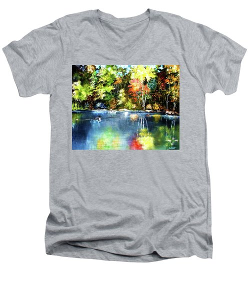 Autumn In Loon Country Men's V-Neck T-Shirt by Al Brown