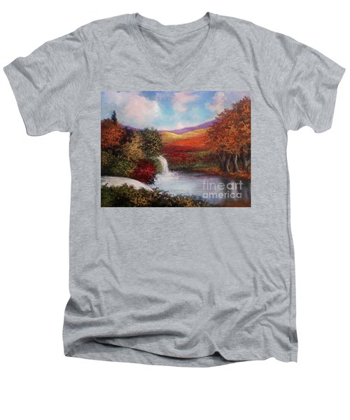 Men's V-Neck T-Shirt featuring the painting Autumn In The Garden Of Eden by Randol Burns