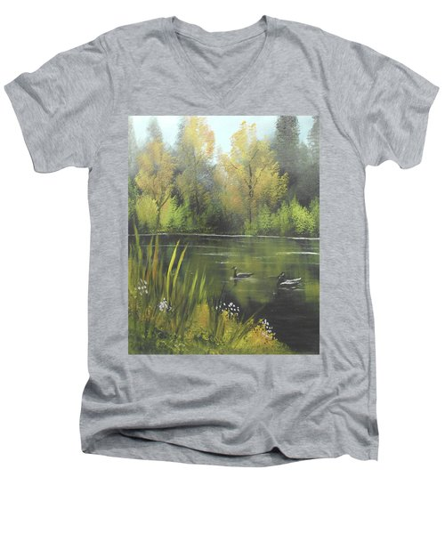 Autumn In The Park Men's V-Neck T-Shirt by Angela Stout