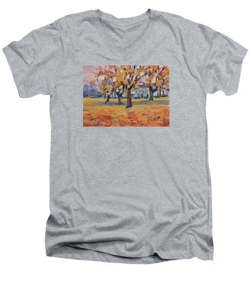Autumn In The Villa Park Maastricht Men's V-Neck T-Shirt by Nop Briex