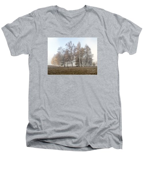 Autumn Landscape In A Birch Forest With Fog Men's V-Neck T-Shirt by Odon Czintos