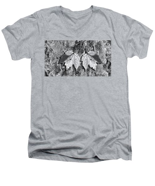 Autumn Leaf Abstract In Black And White Men's V-Neck T-Shirt