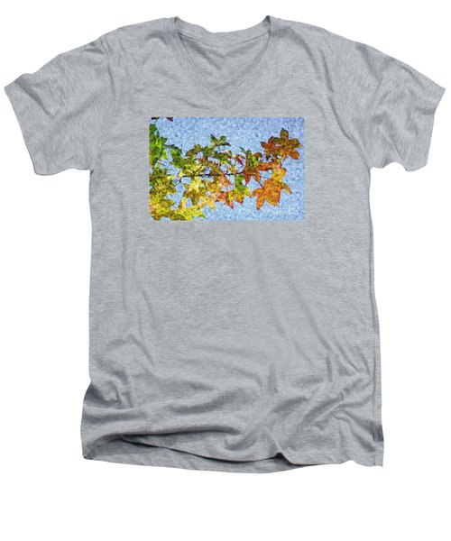 Men's V-Neck T-Shirt featuring the photograph Autumn Leaves 2 by Jean Bernard Roussilhe