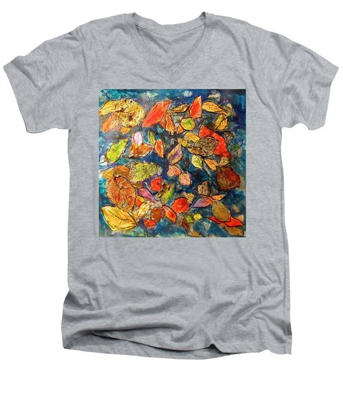 Autumn Leaves Men's V-Neck T-Shirt by Barbara O'Toole