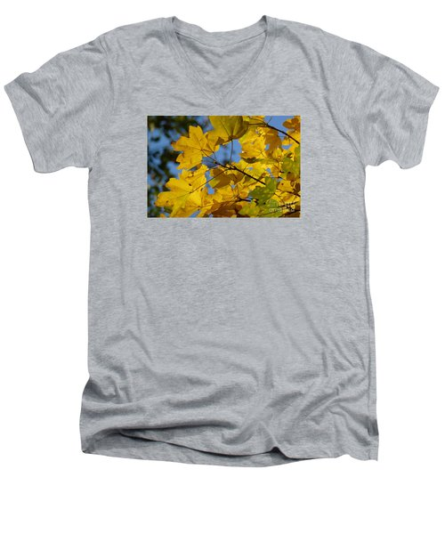Men's V-Neck T-Shirt featuring the photograph Autumn Leaves by Jean Bernard Roussilhe