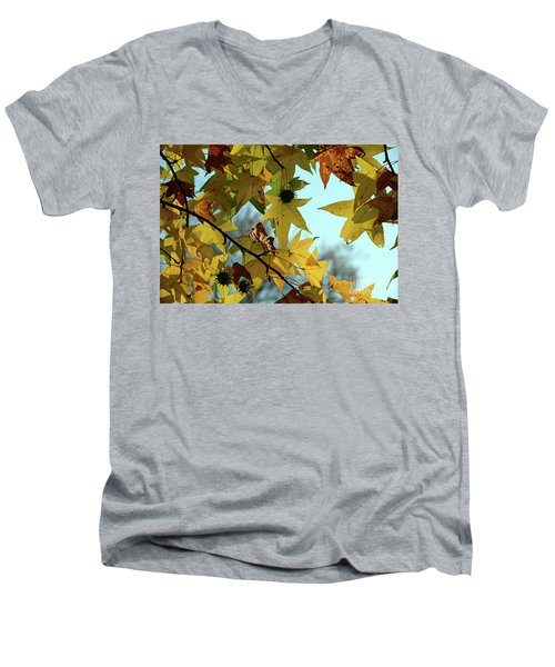 Men's V-Neck T-Shirt featuring the photograph Autumn Leaves by Joanne Coyle