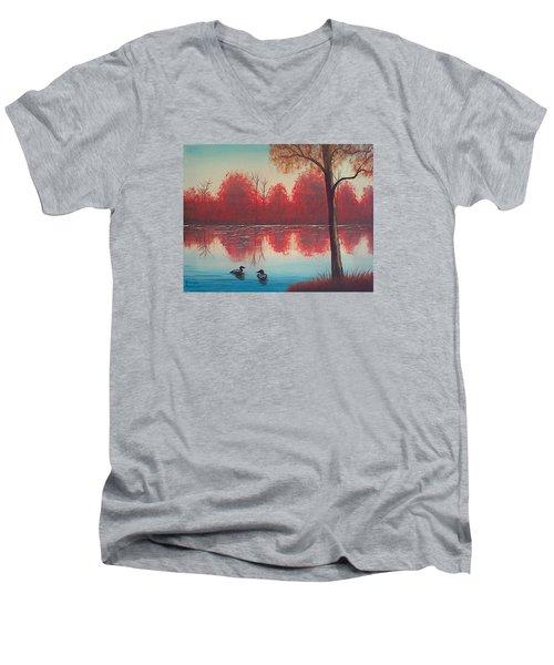 Autumn Loons Men's V-Neck T-Shirt by Brenda Bonfield