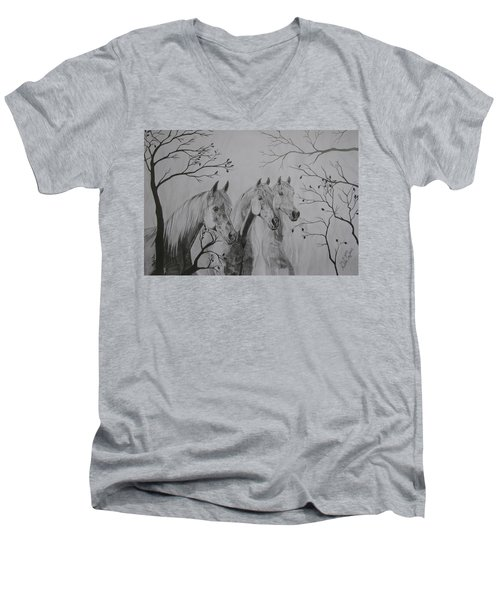 Men's V-Neck T-Shirt featuring the drawing Autumn by Melita Safran