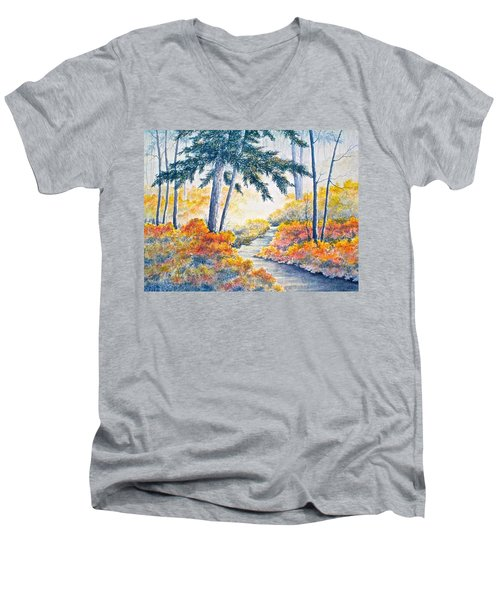 Men's V-Neck T-Shirt featuring the painting Autumn Mist by Carolyn Rosenberger