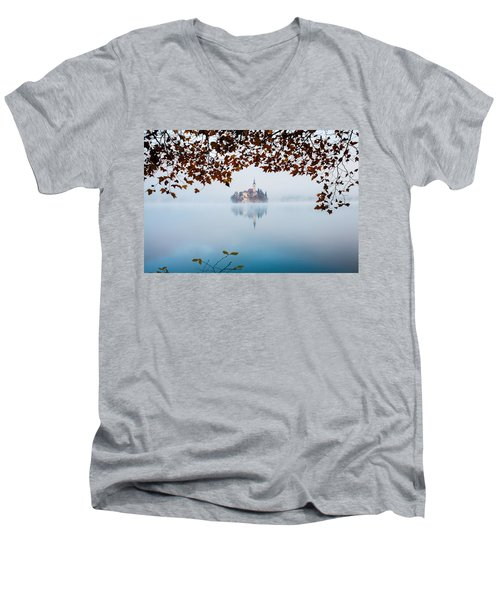 Autumn Mist Over Lake Bled Men's V-Neck T-Shirt