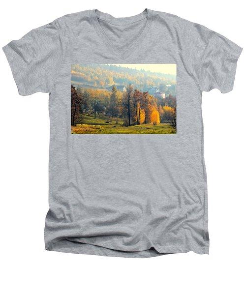 Autumn Morning Men's V-Neck T-Shirt by Henryk Gorecki
