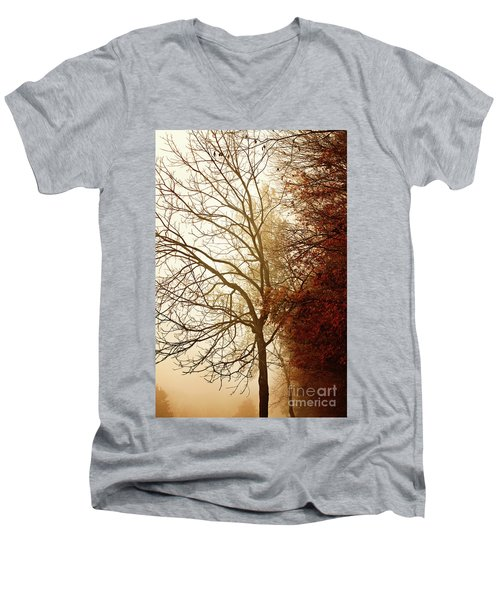Autumn Morning Men's V-Neck T-Shirt by Stephanie Frey
