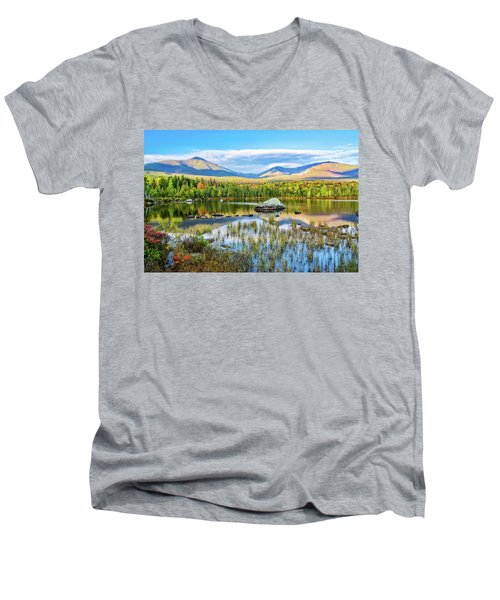 Autumn Mt.katahdin Baxter Sp Maine Men's V-Neck T-Shirt by Michael Hubley