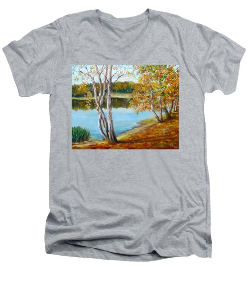 Men's V-Neck T-Shirt featuring the painting Autumn by Nina Mitkova