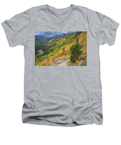 Men's V-Neck T-Shirt featuring the photograph Autumn On Bierstadt Trail by David Chandler