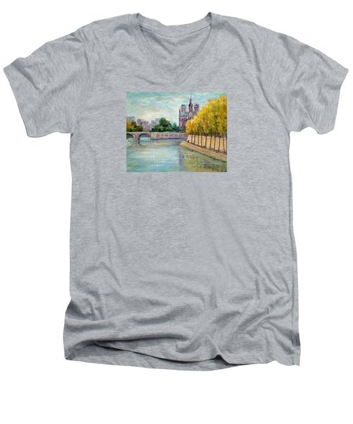 Autumn On The Seine Men's V-Neck T-Shirt